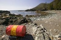 We found this barrel on a west coast beach creating ocean pollution on Vancouver Island.