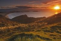 From the hills of Cape Reinga in New Zealand, visitors have stunning views of Te Werahi Beach and the Tasman Sea. During a typical west coast sunset, the scenery is ignited and the grasses glow in the golden light.