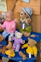 A teddy bear display and one baby at the market stalls at the Christmas Markets in Hexenagger Castle in Bavaria, Germany.
