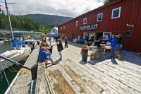 Photo of Telegraph Cove in British Columbia on Northern Vancouver Island, an family vacation and whale watching destination