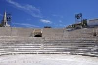 The Theatre Antique in Arles, France in Europe is a historic Roman theatre that has seating for approximately 10,000 people.
