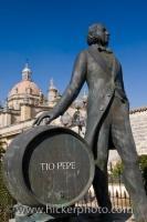 A statue of a man who was the creator of the famous sherry named Tio Pepe at the Gonzalez Bypass sherry bodega in the Province of Cadiz in Andalusia, Spain.