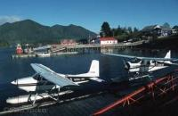 View over Tofino float plane harbor near Pacific Rim National Park on Vancouver Island