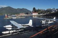 The harbour in Tofino is a hive of activity duing the summer months with floatplanes, leisure and fishing boats, and tours coming and going.