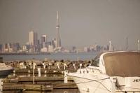 Admire the cityscape of Toronto City from the Port Credit Marina looking across Lake Ontario to the central business district and the CN Tower.