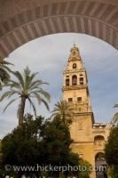 The Torre Del Alminar (bell tower) can be seen through the archway near the entrance to the cathedral towering high above the trees. The architecture of the Torre del Alminar is interesting and reflects its history.