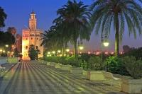 Torre Del Oro Tower Seville City Andalusia Spain Dusk