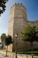 An octagonal tower, rises tall and proud at the end of the Alcazar, or Spanish castle, located in the town of Jerez de la Frontera, Costa de la Luz, in the Cadiz Province of Audalusia, Spain.