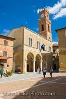 The Piazza Pio II in Pienza in the Province of Siena in the  Region of Tuscany in Italy, Europe, replaced the original town centre in the 15th century.