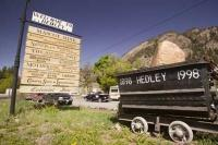 These signs display many of the local businesses in the town of Hedley which was established in 1898 in British Columbia, Canada.
