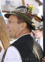 Traditional Bavarian hats are worn by gentlemen at special events like this Maibaumfest in Putzbrunn, Germany.