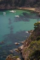 The Costa Brava coastline in Catalonia, Spain in Europe has many secret and tranquil coves for boats to explore.
