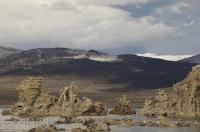 The formations in Mono Lake in California, are made up of tufa, a porous rock composed of calcium carbonate.