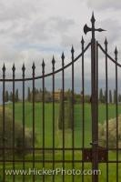 An elegant country villa nestled in the beautiful Tuscan Countryside is secured by a large wrought iron gate at the end of a driveway in the Province of Siena, Tuscany, Italy.