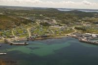 An aerial view of the town site of Twillingate in Newfoundland, Canada.