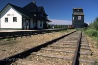A historic site in the Ukrainian Cultural Heritage Village in Alberta, Canada is the ancient railway station.