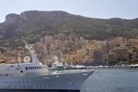 A super luxurious yacht has a place to anchor in Port Hercule Monte Carlo in Monaco, during a vacation in the Mediterrean.
