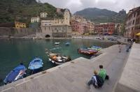 The town of Vernazza in Liguria, Italy sits in a picturesque harbour on the Riviera di Levante.