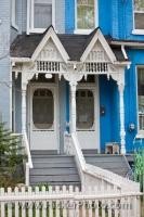 The unique architecture of the Victorian styled house near the Kensington Market in the downtown area of Toronto, Ontario in Canada.