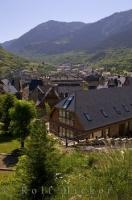 The houses of Vielha city nestle in the Aran Valley in Catalonia, Spain in Europe.
