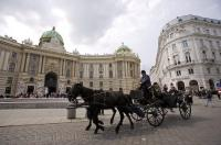 A horse and buggy sightseeing tour ambles slowly past the Hofburg Palace, a top sight in the city of Vienna, Austria. A horse and buggy ride is a popular way of exploring the historic sights and architecture of Vienna.