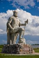 A Noble Viking statue stands on the shores of Lake Winnipeg looking toward the town of Gimli in the Province of Manitoba, Canada, a reminder of the town's historic Icelandic background.