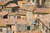 The view over the varied rooftops of Volterra, an original Neolithic settlement in the Province of Pisa, in Tuscany, Italy. Volterra is a city that dates back to almost 10,000 BC and as a result has a varied and interesting history.