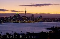 Waitemata Harbour seen at sunset in Auckland, the city that is the largest and most populated in New Zealand. This view was taken from the Mt. Victoria Reserve and Lookout in the suburb of Devonport on the North Shore.