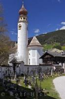 War cemetery and chapel remembering World War I casualties in San Candido, South Tyrol, Italy.