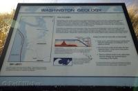 A sign showing the geology of the Washington Coast in the USA.