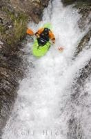 A kayaker takes the plunge off the Sauth deth Pish waterfall in the Catalan Pyrenees of Spain.