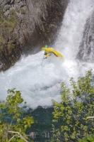 Waterfall Kayaker Pyrenees Catalonia Spain