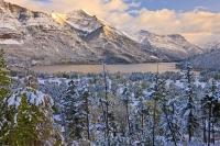 A fresh blanket of snow covers the mountains and forests of Waterton Lakes National Park, part of the Waterton-Glacier International Peace Park.