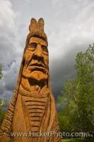 The Whispering Giant, a carved cedar tribute to the First Nations People of North American, can be seen in the town of Winnipeg Beach, a Provincial Recreation Area in Manitoba, Canada.