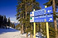 On Whistler Mountain there are so many ski trails that you need direction signs to be able to tell you which ski trail you're on while skiing or snowboarding on Whistler Mountain in British Columbia, Canada.