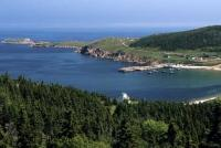 An elevated shot of White Point near the Cabot Trail in Cape Breton Highlands in Nova Scotia, Canada.