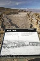 An interpretive sign about white gold or Borax in Death Valley National Park, California, USA.
