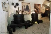 Historic wine making apparatus found in the wine museum  in Fira Santorini Greece