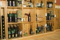 A shelf with a variety of wine racks and singles bottles at the Hawthorne Mountain Vineyards in the Okanagan Valley in British Columbia, Canada.