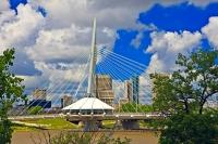 The Esplanade Riel is a bridge that links downtown Winnipeg with St Boniface. The bridge was completed and opened to pedestrian traffic in 2003.