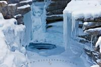 Tiers of beautiful formations made of snow and ice form during winter on the Athabasca Falls. Winter pictures with their contrasts of white snow with the dark landscape make for some interesting background pictures.