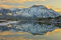 Winter Landscape Mountain Reflections Waterton