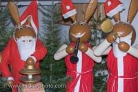 Each wooden rabbit on display at the Christmas markets in the town of Michelstadt, Hessen in Germany is playing a different musical instrument.