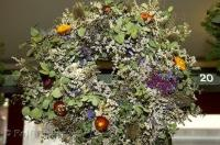 A pretty wreath made of dried flowers and leaves on display at the Pike Place Public Market Center in Seattle, Washington, USA.