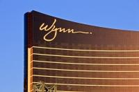 Like a wafer, the Wynn Casino and Hotel in Las Vegas, aka Sin City or LV, stands illuminated along the famous Strip.