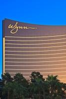 The distinctive architectural design of the Wynn Hotel and Casino - almost a mirror image of the Encore Hotel and Casino, is seen clearly in this photo of the bronze building.