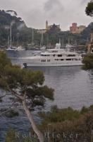 Beautiful luxury yachts moored in yacht harbour of Portofino in Liguria, Italy in Europe.