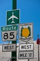 Street Signs Mile 0 Yellowhead Highway Winnipeg Manitoba