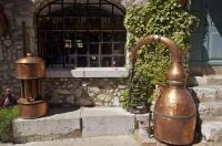 A display of some of the distillery equipment used at the La Source Parfumee in Gourdon, Provence, France.
