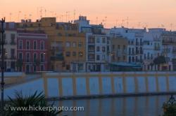 Sevilla City Sunset River Buildings Andalusia Spain